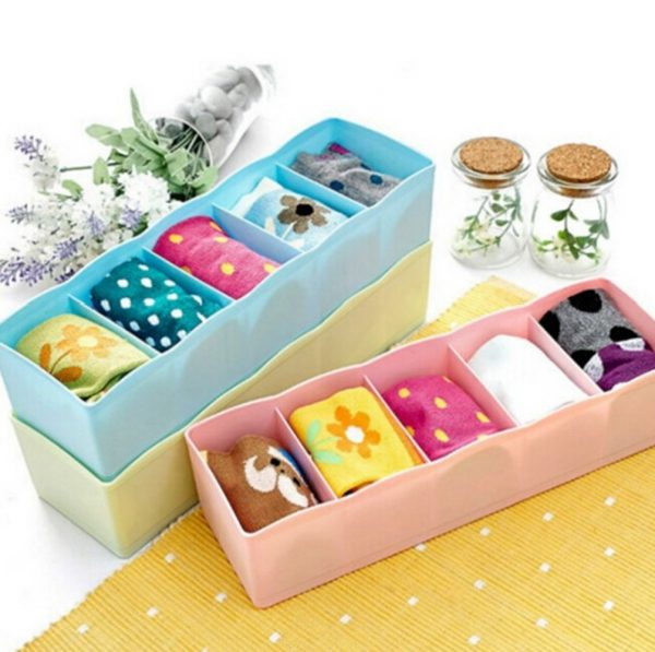Plastic Undergarments Inner-wear Socks Drawer Organiser Partition Box, Assorted Colors,-Set of 2 Pieces