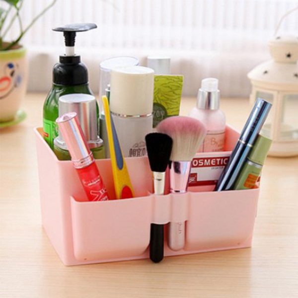 Home Office Desktop Decor Cosmetic Storage Box Bag Organiser Makeup Stationary Container