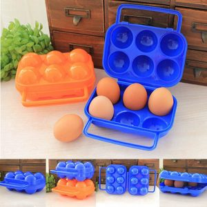 6 Eggs Container Holder Case Box to Carry Eggs for Camping, Picnic 1 PC Random Color